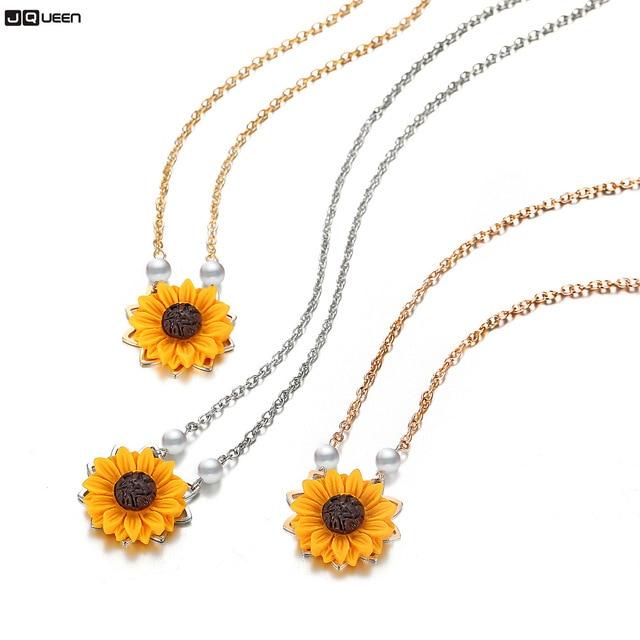 b50e1d55022c Nuevo girasol imitación de perla collar suéter amarillo girasol colgante de  oro de la joyería de