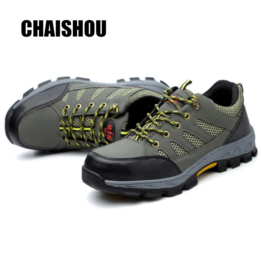 2019 Summer Woman Men Work Shoes Boots Lace-up Anti-smashing Anti-piercing Flying Wire Weaving Breathable Steel Toe Cap CS-314