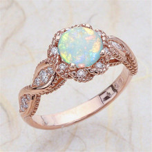 Silver 925 ring gold Emerald diamond rings Zircon  opal jewelry crystal Pomelo rose Moonstone ringB2296