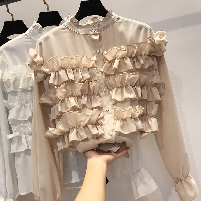 2019 Spring Women Casual Sweet Vintage Blending Layer Auricularia Lace   Blouse     Shirt   Ladies Stand Collar Straight   Shirt   Tops