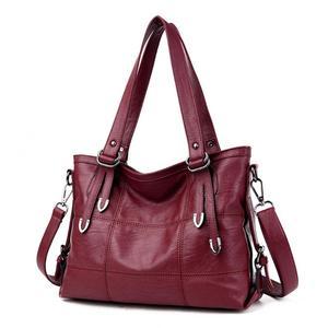 Image 1 - Ladies Retro Large Handbags Fashion PU Leather Shoulder Bag Female Large Tote Handbag Ladies Solid Color Luxury Tote Sac A Main