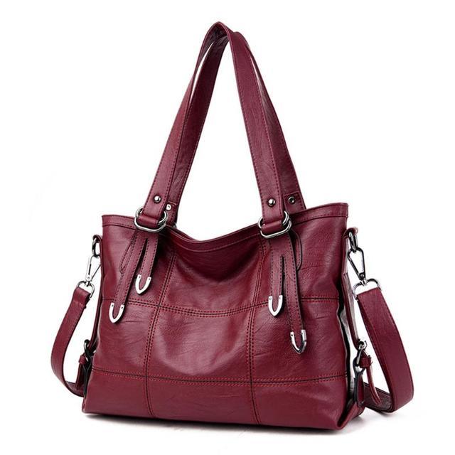 Ladies Retro Large Handbags Fashion PU Leather Shoulder Bag Female Large Tote Handbag Ladies Solid Color Luxury Tote Sac A Main