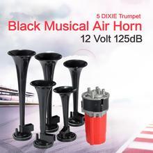 5 Pcs 12V 125DB สีดำทรัมเป็ตดนตรี Dixie รถ Duke hazzard + คอมเพรสเซอร์ 12V รถ Air Horn