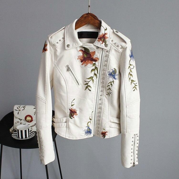 Floral Print Embroidery Faux Soft   Leather   Jacket Coat Turn-down Collar Short Black Punk rivet coat PU   Leather   loose Coat Q027