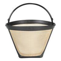 NEW 1PC permanente reusável #4 forma cone café filtro de malha cesta inoxidável fácil limpo lavável reutilizável permanente café filte|Peças p/ cafeteira|Eletrodomésticos -