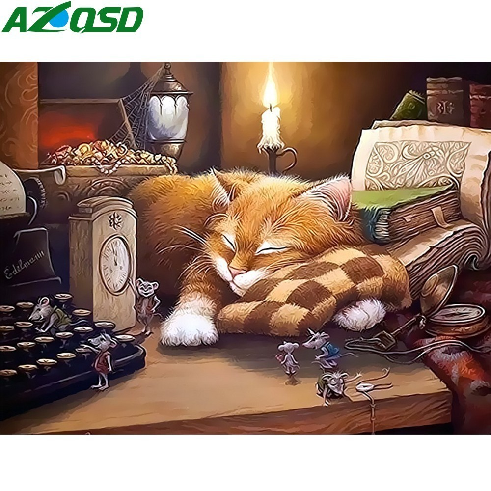 AZQSD Oil Painting By Numbers Sleeping Cat Hand Painted Canvas Modern DIY Wall Picture For Living Room Home Decor SZYH6316