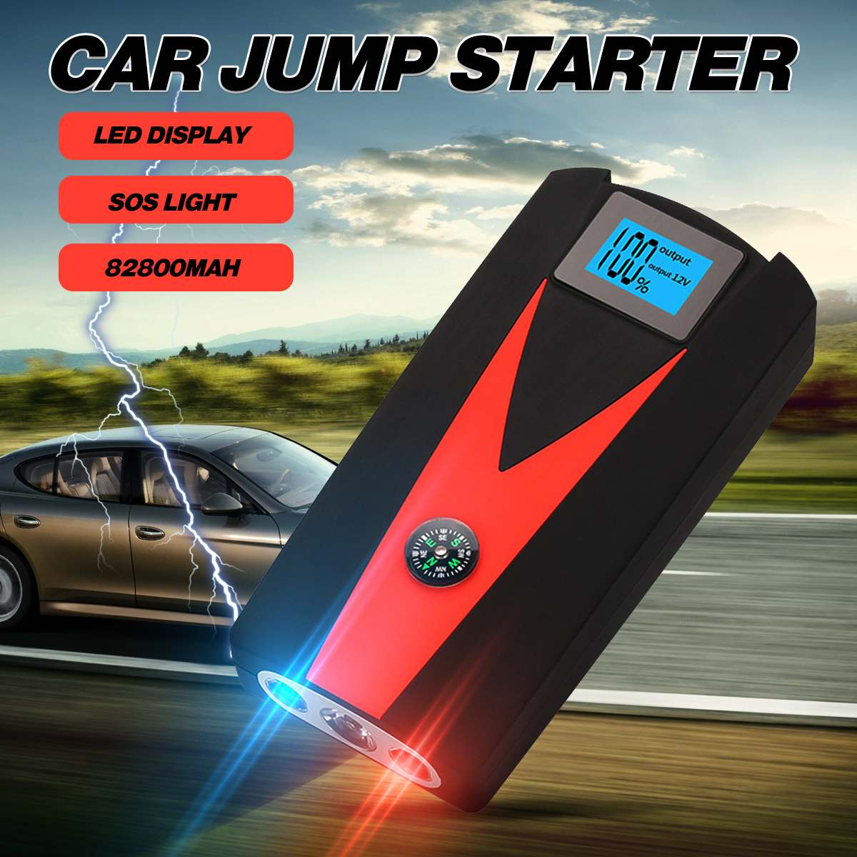 82800mAh 2USB LED Car Jump Starter Power Bank 800A Waterproof Portable Car Mobile Battery Booster Charger 12V Starting Device