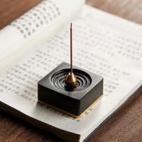 1PCS Black and Ebony Incense Burner Zen Portable Censer Buddhism Incense Holder Fragrant Ware Incense Stick Base Home Decoration