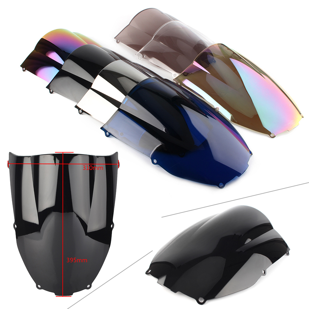 ZX-6R Motorcycle Windshield Windscreen Double Bubble For Kawasaki Ninja ZX6R 2000 2001 2002  ABS Plastic