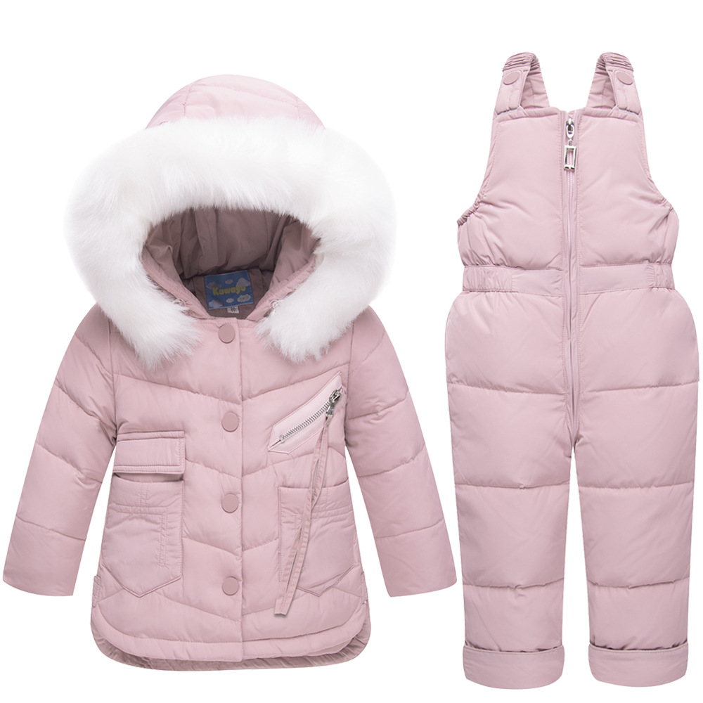 Winter New Childrens Down Jacket Overalls Set White Duck Down Unisex Thicken Kids Snowsuits Solid ColorWinter New Childrens Down Jacket Overalls Set White Duck Down Unisex Thicken Kids Snowsuits Solid Color