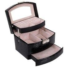 Горячая Автоматическая кожаная шкатулка для украшений, трехслойная коробка для хранения для женщин, кольцо для сережек, косметический Органайзер, шкатулка для украшений