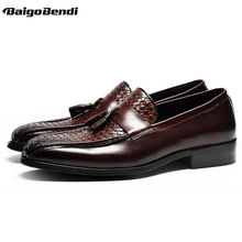 New Recommand Woven Oxfords Men Full Grain Leather Tassel Loafers Business Man Casual Office Shoes Four Seasons