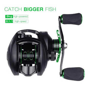 12+1 Ball Bearings Baitcasting Fishing Reel with 8KG Magnetic Braking Force 8.1:1 Gear Ratio Smooth CNC Metal Spool Left Right - DISCOUNT ITEM  20% OFF Sports & Entertainment