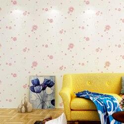 Koreaanse Zoete Kleine Bloem Behang Muurschildering Baby Girl Room Wall Paper 3d Reliëf Wallpapers Zelfklevende Kids Slaapkamer Decorqz081