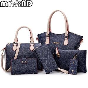 Image 1 - 2020 Nieuwe Vrouwen Lederen Handtassen Mode Schoudertas Vrouwelijke Portemonnee Hoge Kwaliteit 6 Stuk Set Designer Merk Bolsa feminina