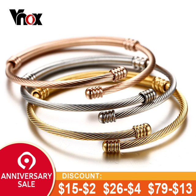 68efdb9c47f Vnox Stainless Steel Triple Three Cable Wire Twisted Cuff Bangle Bracelets  Set for Women Adjustable Bangle Bracelets 3 Colors