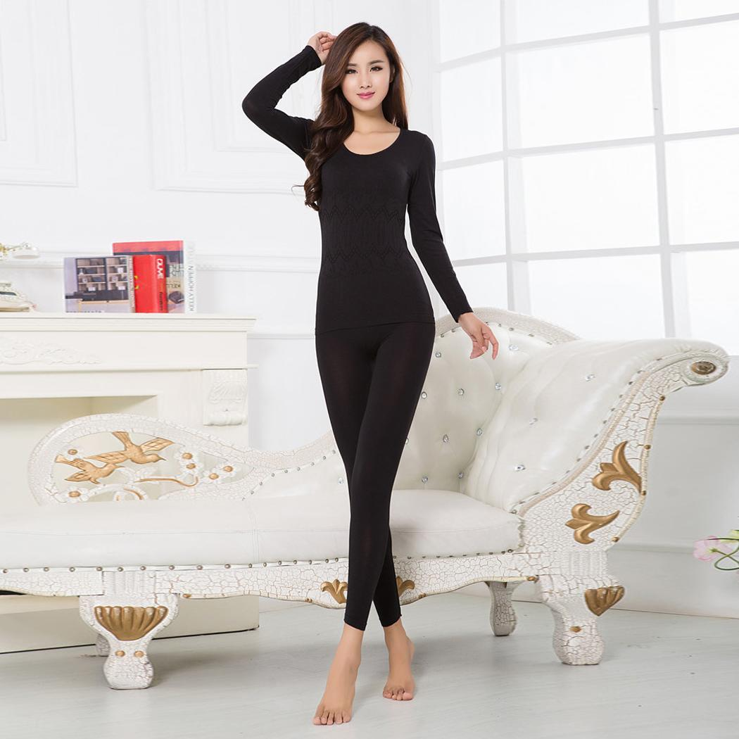 Women Casual O-Neck Long Sleeve Shaping Thermal Pullover Winter Full Length Underwear Elastic Waist Set Slim