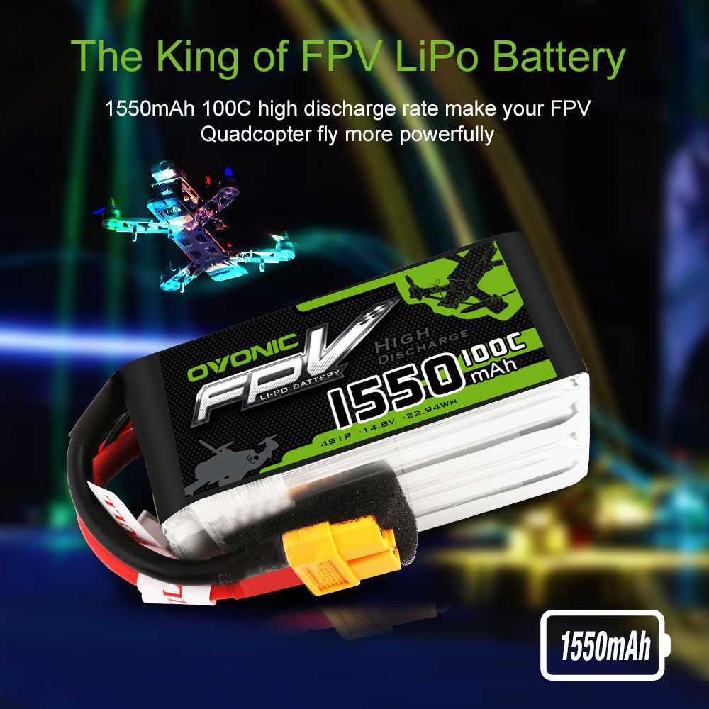 3 пакеты ovonic 1550 мА/ч, 100C 14,8 V Lipo 4S Батарея XT60 разъем для 250 230 небольшой гоночный Дрон с видом от первого лица Квадрокоптер Дрон гонщик
