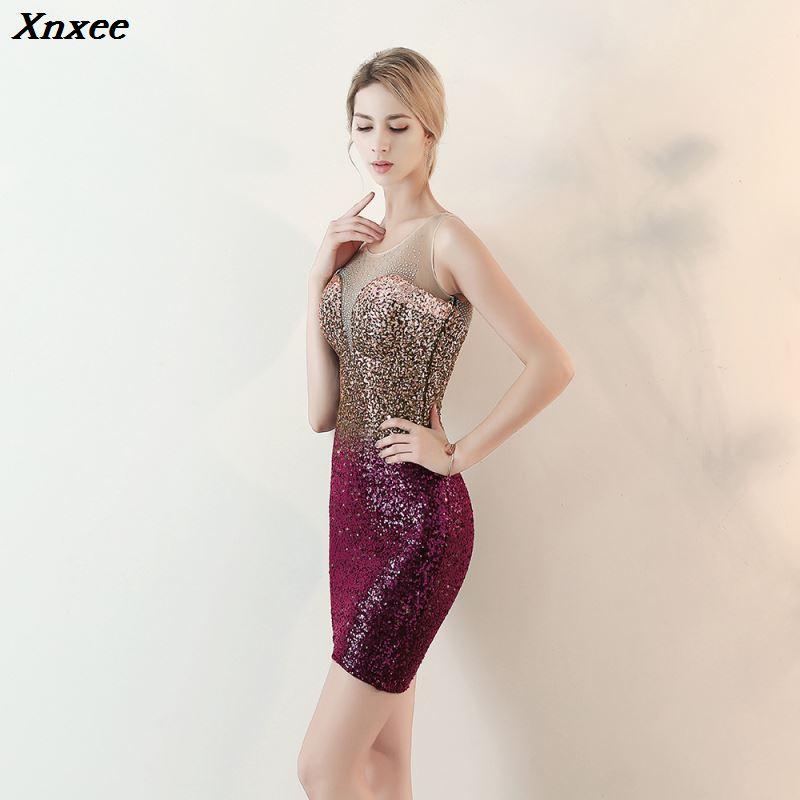 Xnxee Sexy sans manches vin rouge dégradé paillettes Slim élégant genou longueur o-cou soirée robe de soirée robes Xnxee