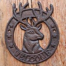 Cast Iron Antique Style deer WELCOME Plaque Garden Sign Wall decor