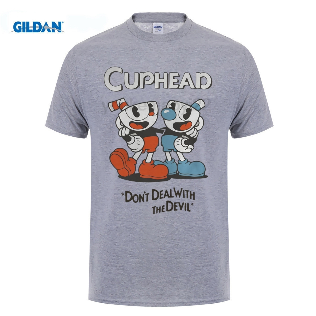 GILDAN Cuphead don't deal with the devil shirtsweatshirttank top Hip-Hop T-Shirt Short Sleeve Asian Size Mens