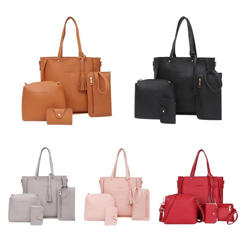 4pcs/set Litchi Leather Tassel Handbags  1