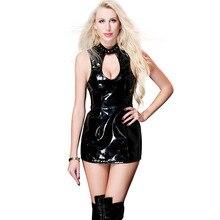 MUX black PU leather dress sexy backless Hollow Out short dresses vestidos jurken woman clothes ukraine club clothing