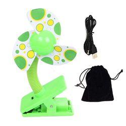 Clip-on z USB Mini wentylator spacerowy do łóżeczka dziecięcego kojec (zielony)