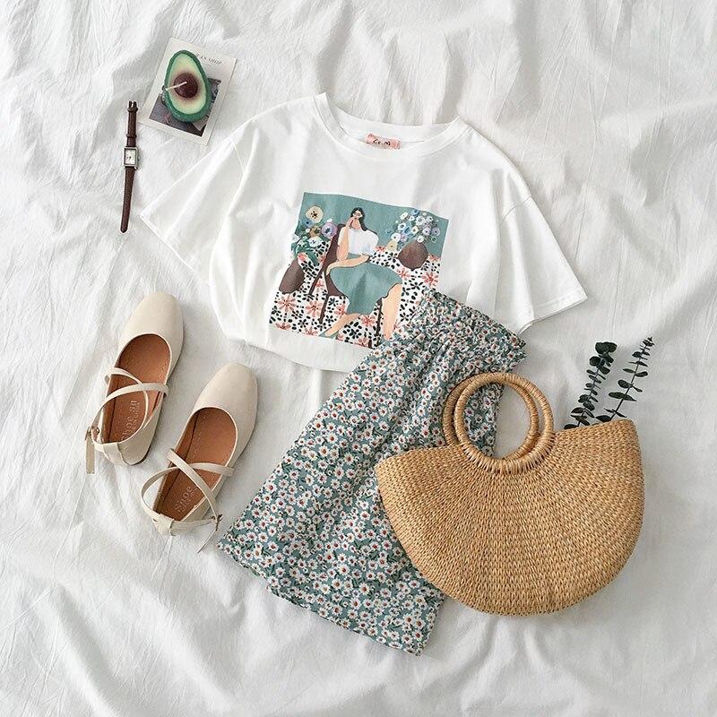 Flor do vintage Saia Set Verão 2 Piece Set Mulheres Moda Estilo Boho Branco T-shirt + A-linha Mini Saia do sexo feminino Casual Conjunto de Correspondência
