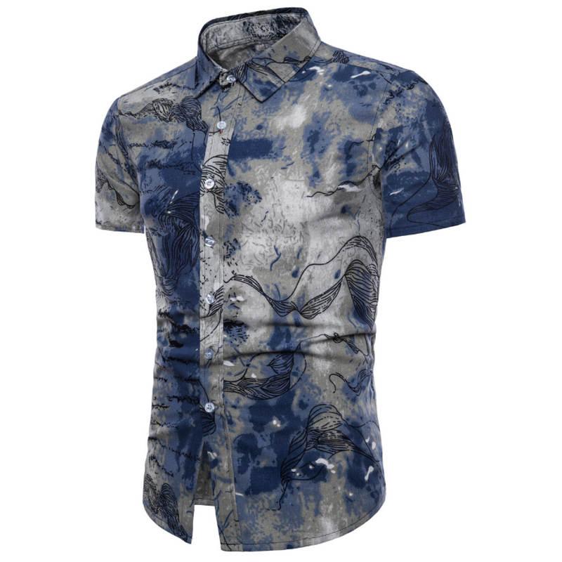 Mens Summer Fashion Beach Hawaiian Shirt Brand Slim Fit Short Sleeve Floral Shirts Casual Holiday Party Clothing M-5XL