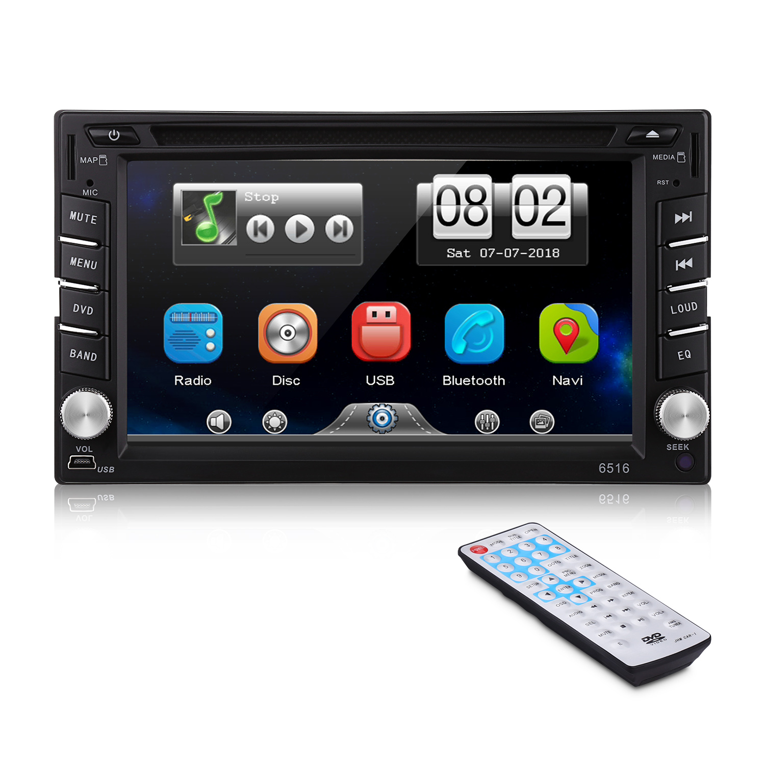 <font><b>2Din</b></font> <font><b>6.2</b></font> <font><b>inch</b></font> Car Multimedia DVD Player HD Touch Screen 1080P With Bluetooth FM Radio Tuner Support TF Card USB image