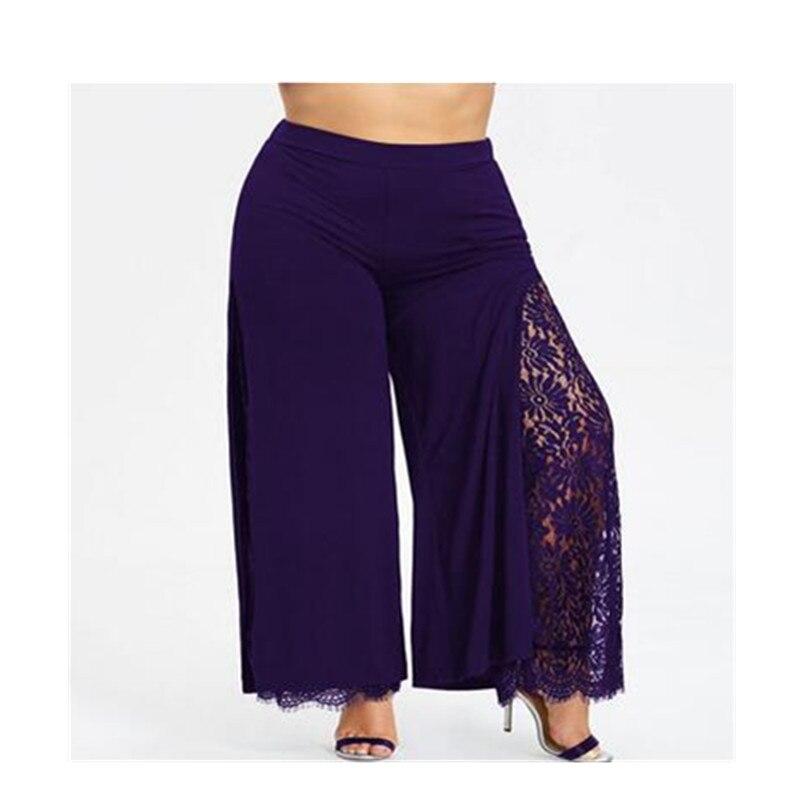 Plus Size Women Summer   Wide     Leg     Pants   Loose High Slit Lace Palazzo   Pants   Women Casual Straight Long Trousers