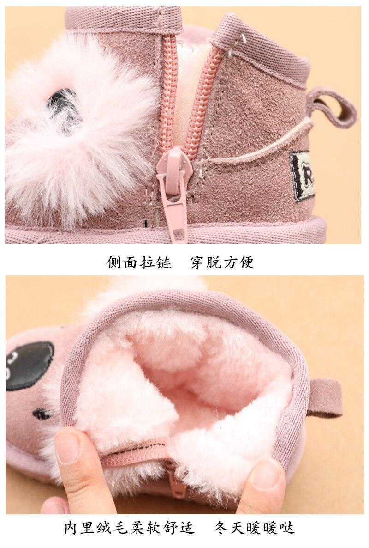 couro real bebe menina botas de neve 05