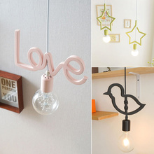 1 pcs pink Alphabet lamp hanging letter lights Small Korean Modern iron pendant lamps Dining Room