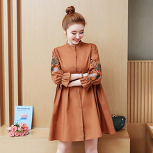 Embroidery Korean Chic Plus Size Women Shirt Dress 2019 Casual Spring Flare Sleeve High Waist Stand Collar Floral Mini 5XL
