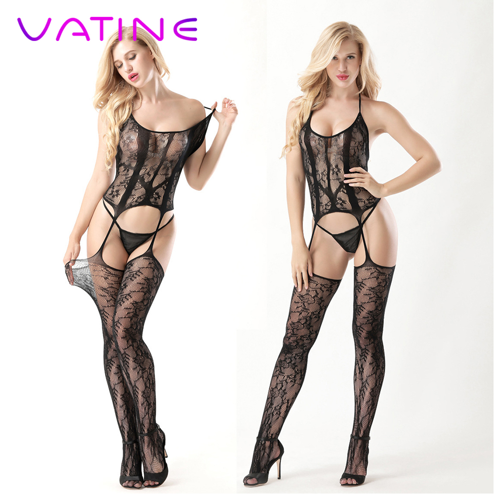 VATINE <font><b>Sexy</b></font> Costumes <font><b>Sexy</b></font> hanging neck <font><b>catsuit</b></font> <font><b>Sexy</b></font> Lingerie Open Crotch Bodysuit Exotic Apparel Erotic underwear image