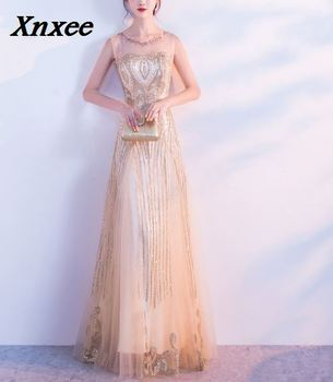 e054340175 Xnxee lentejuelas cordón vestidos sirena largo Formal Prom vestido de fiesta  nuevo estilo 2018 Xnxee