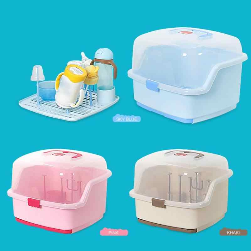 Portable Baby Bottles Storage Box Drying Rack Plastic Tableware Dry Case Kid Travel Feeding Multi-Functional Storage Box