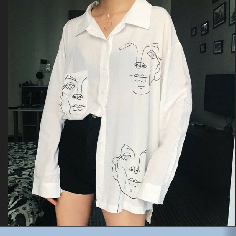 New Fashion Womens Unisex Casual Button Up Long Sl