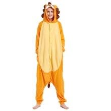 5a6b14bf74 Dropshipping Neue orange lion frauen Männer Tiere Onesie Lion Pyjamas  Fleece warme Winter Schlaf Allgemeine Hause Tragen Festiva.