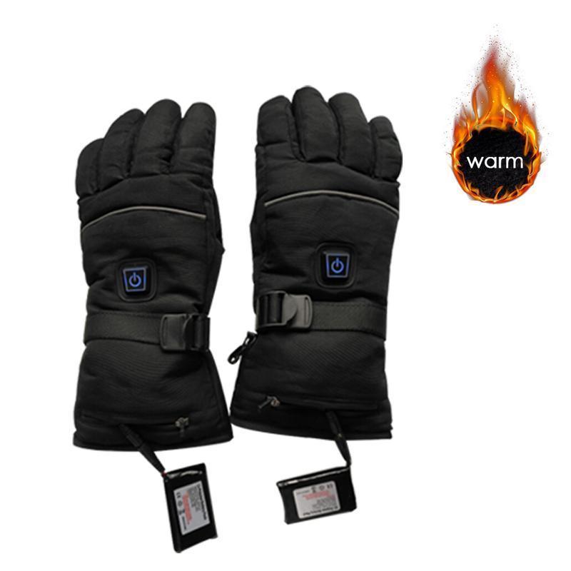 1 par Luvas de Aquecimento Elétrico Alimentado Por Bateria Luvas Aquecidas Térmicas para Os Homens e Mulheres de Cinco-Dedo Inverno Mão Mais Quente luvas de esqui