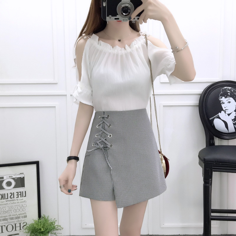 Korean fashion women summer wear chiffon blouse top tall waist of wide legged short skirted pants two piece size S XL clothes in Women 39 s Sets from Women 39 s Clothing