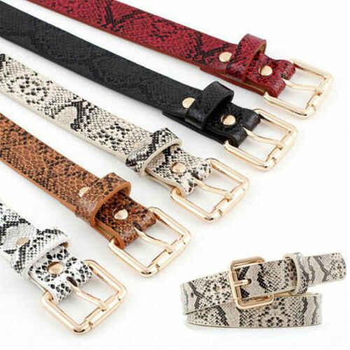 Moda mujer cuadrado hebilla de Metal PU piel de serpiente elástico banda elástica cintura cinturón Beige negro rojo blanco Camel