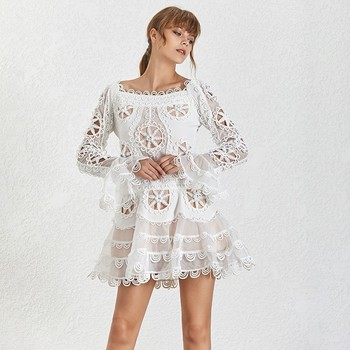 TWOTWINSTYLE Floral Dress Hollow Out Slash Neck Flare Sleeve Draped Mini Mermaid Dresses Large Size summer Fashion New Clothing 1