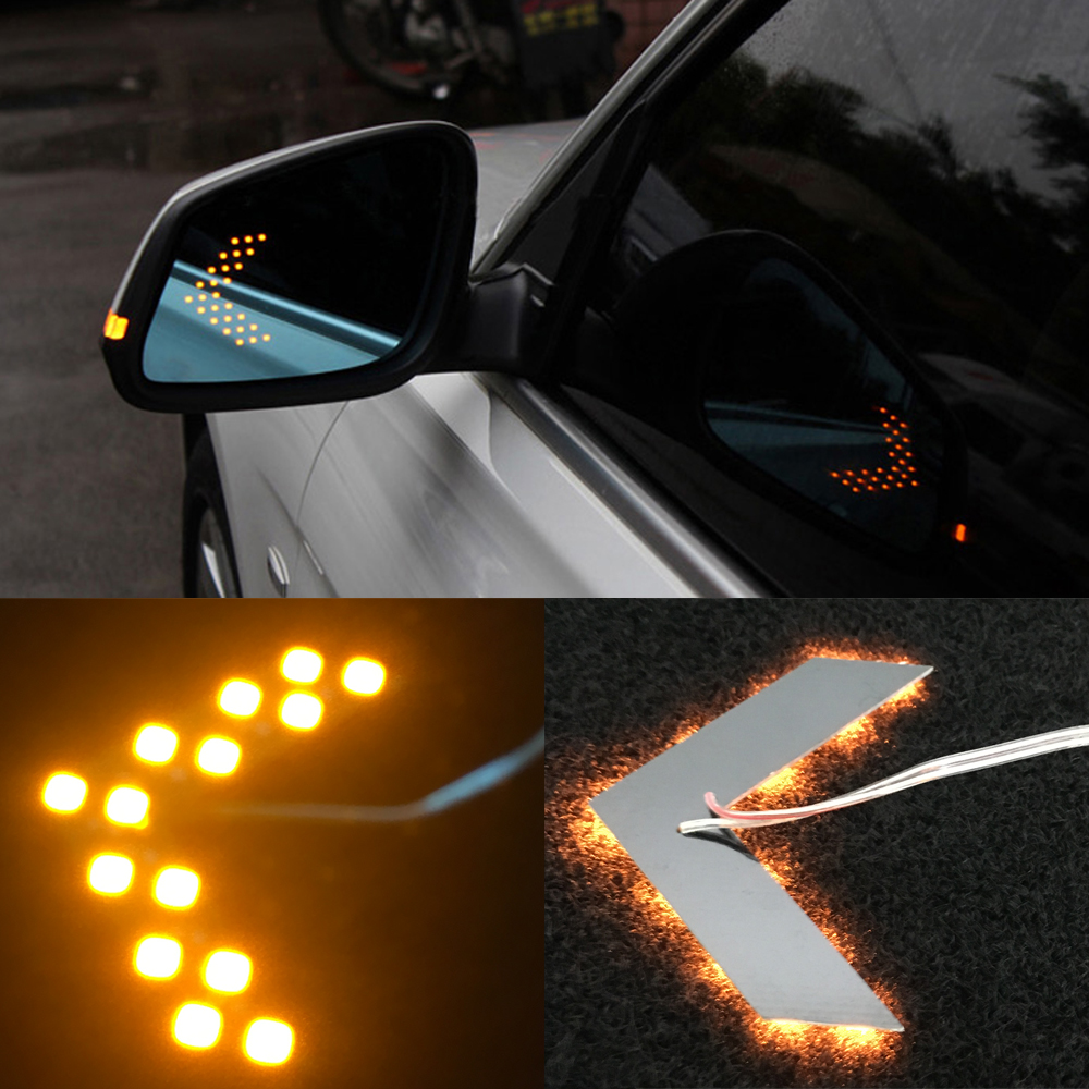 2pcs 14 Smd Led Arrow Panel For Car Rear View Mirror