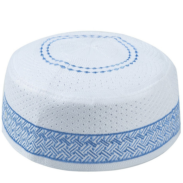 Hombres islámicos sombreros musulmanes de oración Kippah egipcio Kufi Topi bordado Koofi Cap paquistaní Namaz Beanies sombrero azul mumulman Veludo