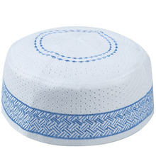 Мужские регулируемые шляпы Kippah египетские Kufi Topi вышитые кепки Koofi пакистанские шапочки с намазом синяя шапка Musulman Veludo