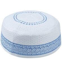 Mężczyźni muzułmanin islamski modlitwa kapelusze Kippah egipskiej Kufi Topi haftowane Koofi czapka pakistanu Namaz czapka beanie niebieski Musulman Veludo