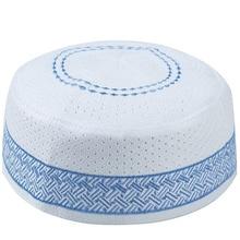 Männer Islamischen Muslimischen Gebet Hüte Kippa Ägyptischen Kufi Topi Bestickt Koofi Kappe Pakistanischen Namaz Mützen Hut Blau Musulman Veludo