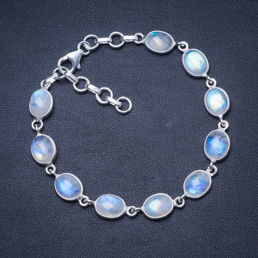 Natural Rainbow Moonstone 925 Sterling Silver Bracelet 7 1 4 8 1 4 Q2820